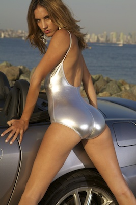 Franny in a silver low back, low neck American Apparel swimsuit