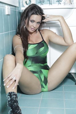 Marissa in a green and black high leg, extreme back Tyr swimsuit