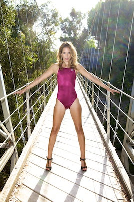 Franny in a maroon high leg, racerback Tyr swimsuit