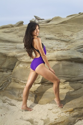 Lindsay in a purple racerback Nike swimsuit
