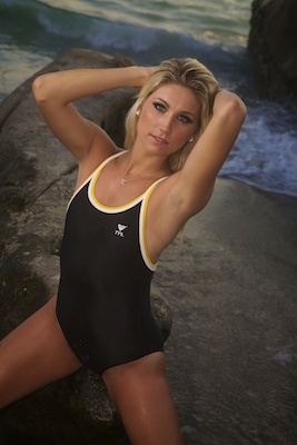 Amanda in a black and yellow extreme back Tyr swimsuit