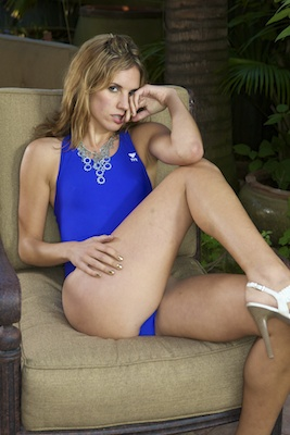 Franny in an electric blue high leg, pulse back Tyr swimsuit