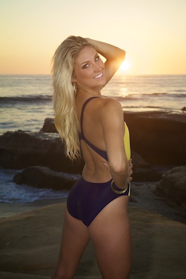 Amanda in an electric blue and yellow racerback swimsuit