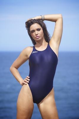 Marissa in an electric blue high leg, racerback Asics swimsuit
