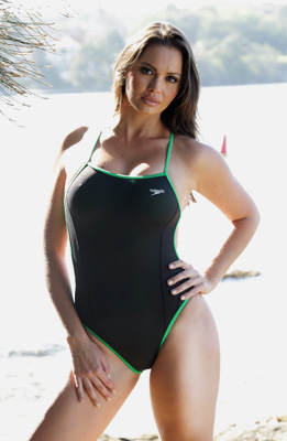 Marissa in a black and green extreme back Speedo swimsuit