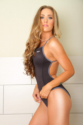 Ashley Light in a black and grey extreme back, high leg Speedo swimsuit