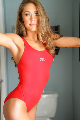 Ashley Light in a red racerback Rally swimsuit