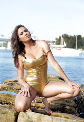 Marissa in a gold low neck, low back American Apparel swimsuit