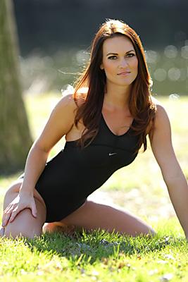 Morgan in a black pulse back Nike swimsuit