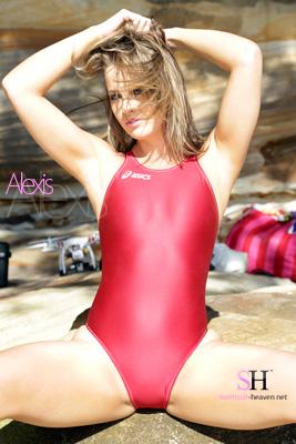 Alexis in a maroon high leg, racerback Asics swimsuit