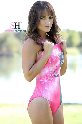 Morgan in a baby pink, hot pink and black pulse back Nequin swimsuit