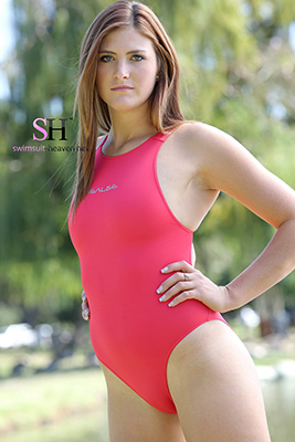 Cheyenne in a hot pink racerback Realise swimsuit