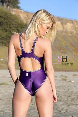 Shannyn in a purple high leg Asics swimsuit