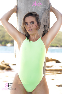 Alexis in a yellow and green high leg, racerback Asics swimsuit