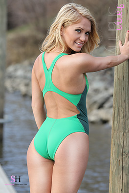 Shannyn in a green racerback Nike swimsuit