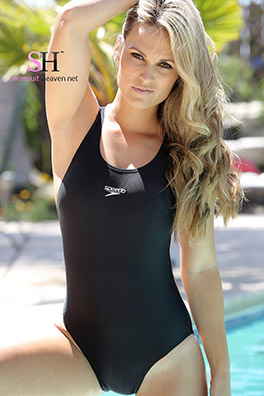 Morgan in a black racerback Speedo swimsuit