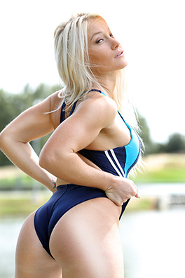 Katie in a blue racerback Nequin swimsuit