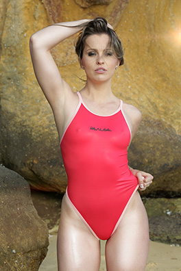 Alexis in a red pulse back Realise swimsuit