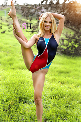 Shannyn in a red and blue pulse back Asics swimsuit