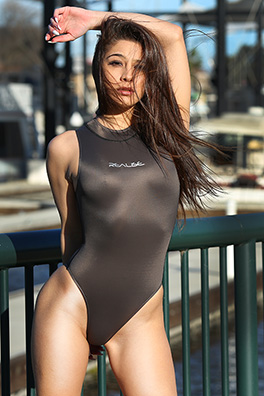 Ally in a grey high neck Realise swimsuit