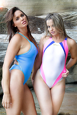 Two lovely ladies in baby blue, white and baby pink high leg, pulse back Asics and Realise swimsuits