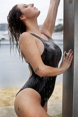 Rochelle in a black high leg Realise swimsuit