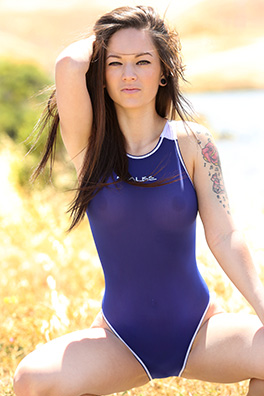 Terra in a blue high leg Realise swimsuit