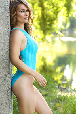 Morgan in a blue fastskin, high leg, racerback Realise swimsuit