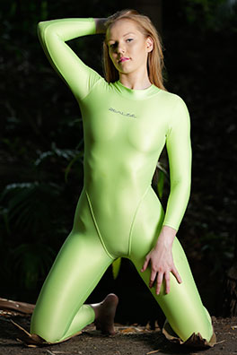 Kandice in a green zipper back Realise swimsuit
