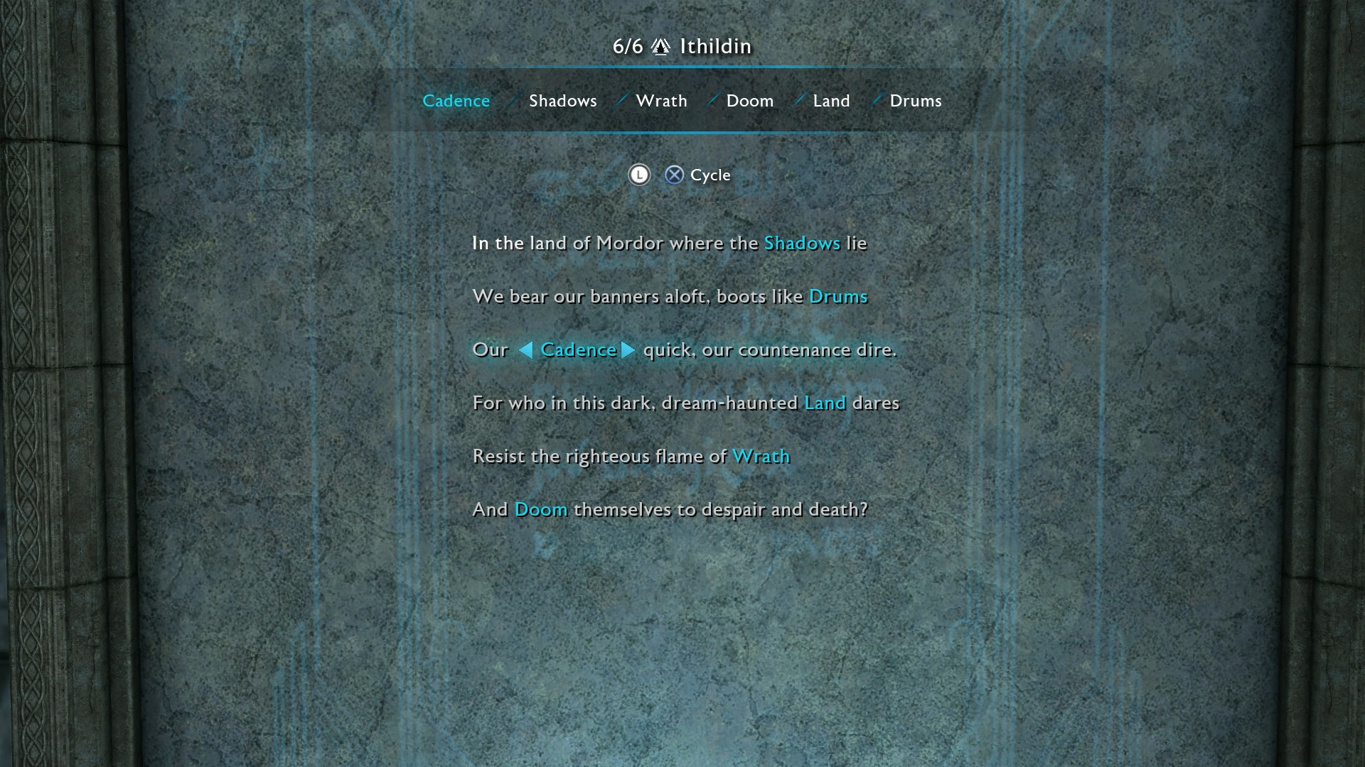 From top to bottom here is the solution for the Minas Ithil Ithildin Door Poem. You can get this piece of Legendary gear early in your game but completing ... & Shadow of War - All Ithildin Door Poem Solutions | Shacknews