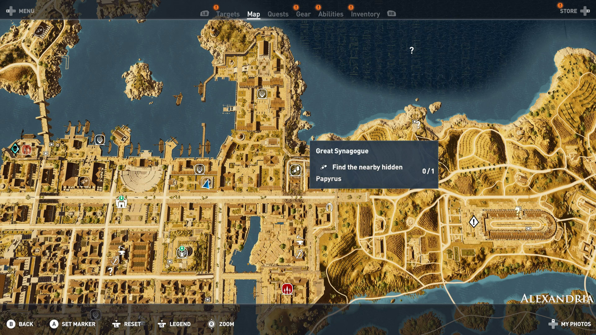 Assassins Creed Origins All Papyrus Locations Alexandria Great Synagogue Map