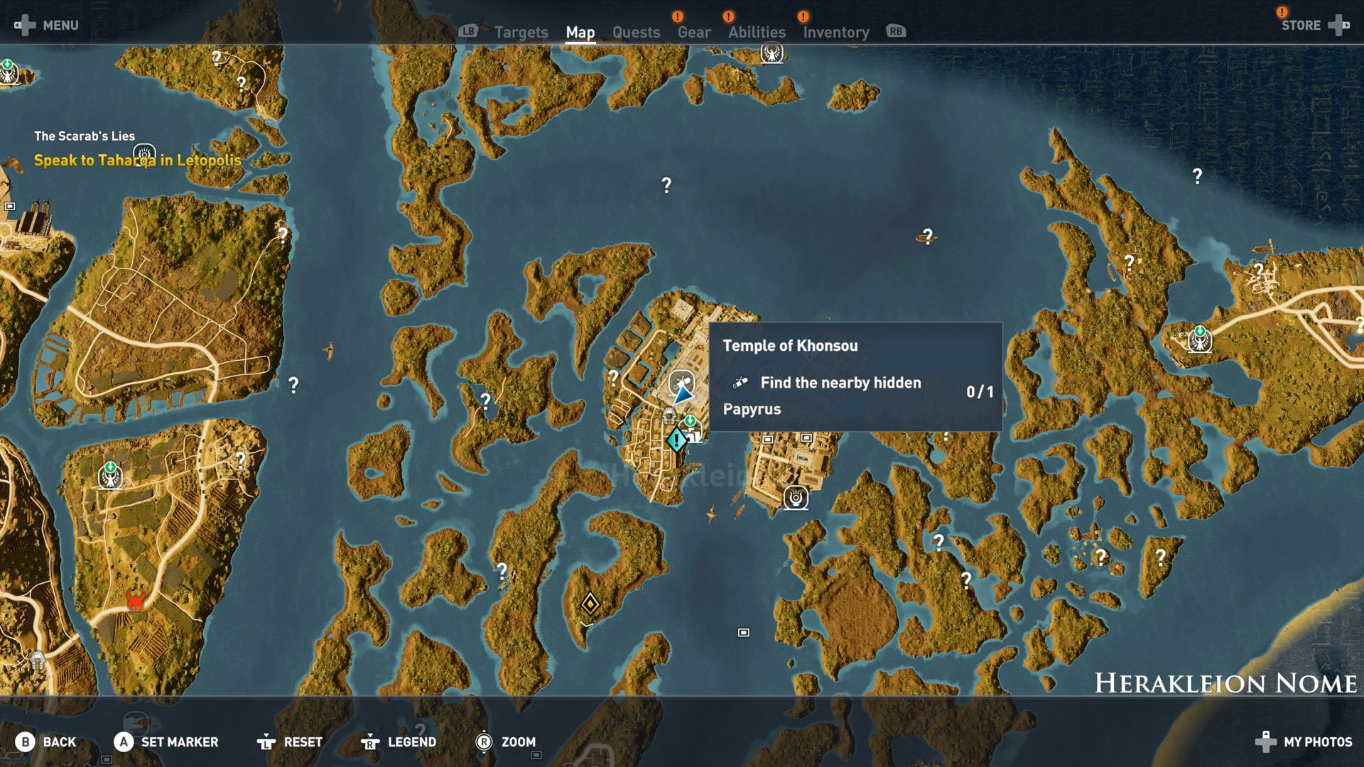 Assassins Creed Origins All Papyrus Locations Herakleion Nome Temple of Khonsou Map