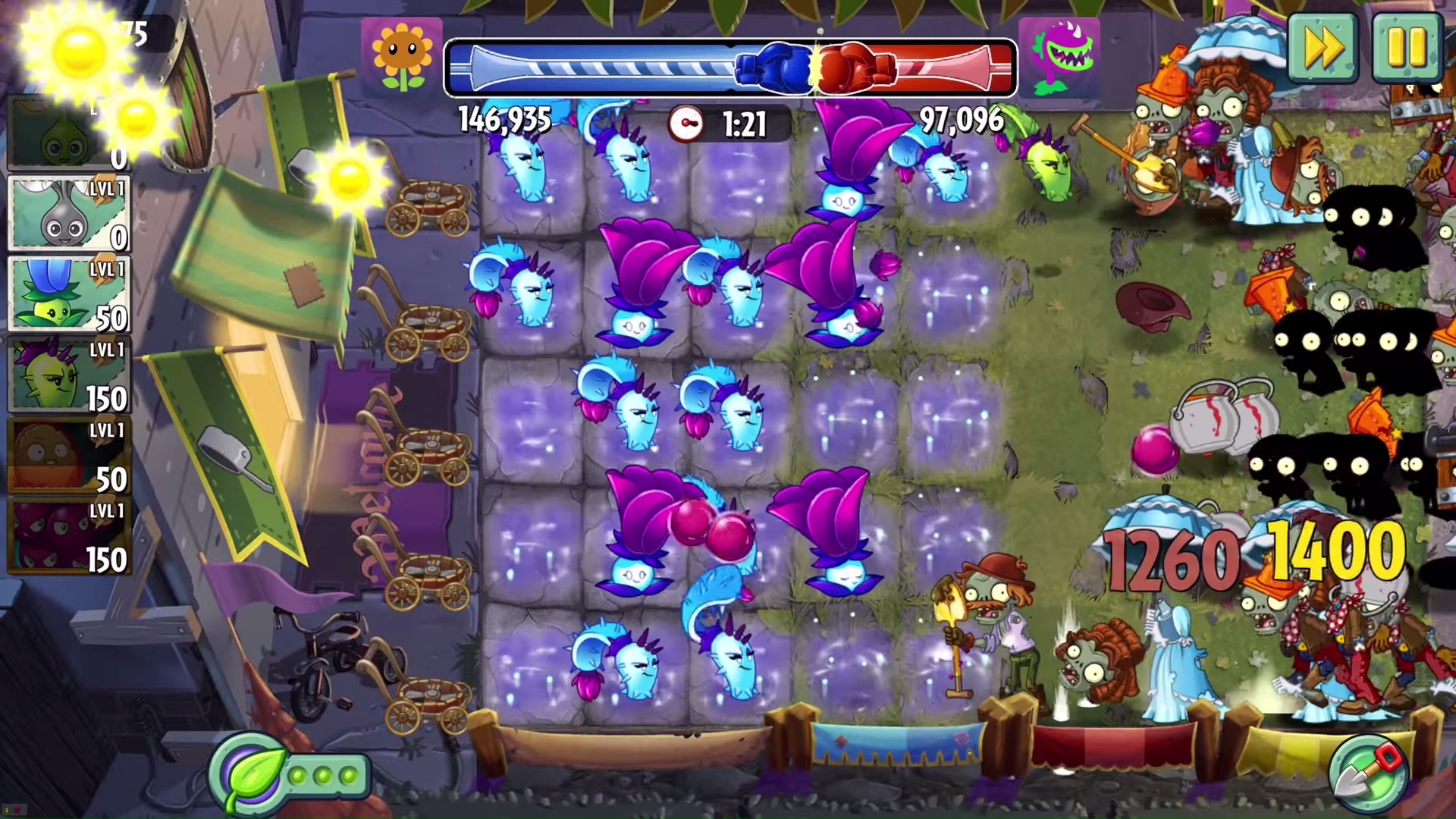 Plants vs zombies 2 introduces pvp battlez shacknews the new battlez mode introduces asynchronous pvp which sees players look to see who can take out zombie hordes the fastest players earn more points voltagebd Choice Image