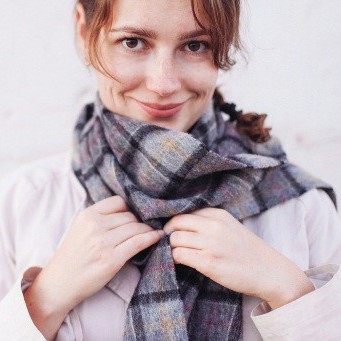 Girl with Geometric Print Scarf