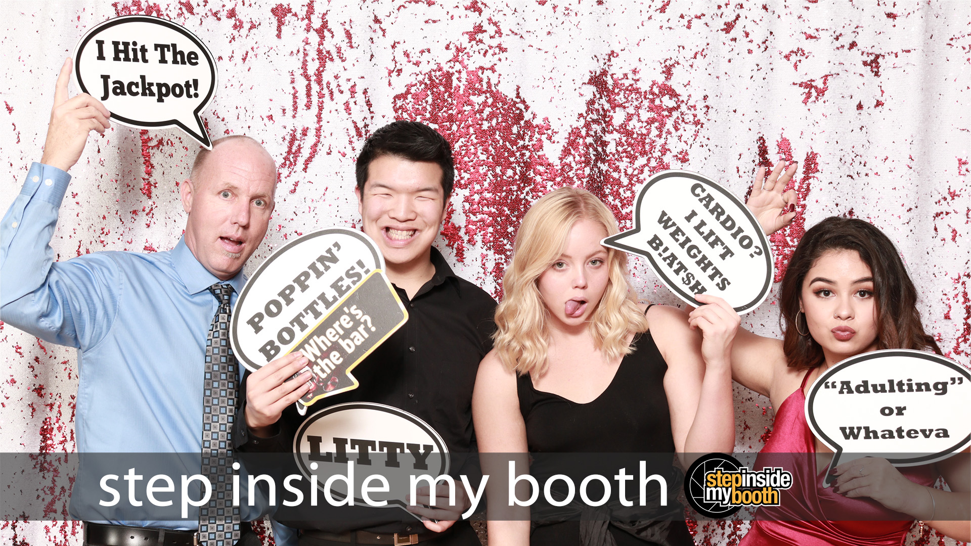 Step Inside My Booth Studio Quality Photo Booth for your event! Photo with guests from Allyson's Debutante Party on February, 19, 2019