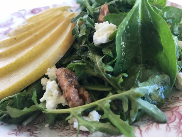Arugula Pear Salad with Spiced Walnuts and Goat Cheese