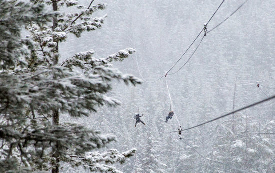 What it is like to zipline in the snow