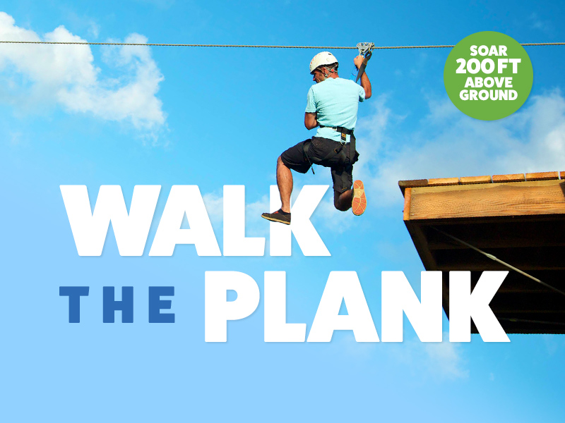 Walk the plank and launch yourself from Hawaii's only plank launch zipline that opens up a 200-foot drop-off below your feet.
