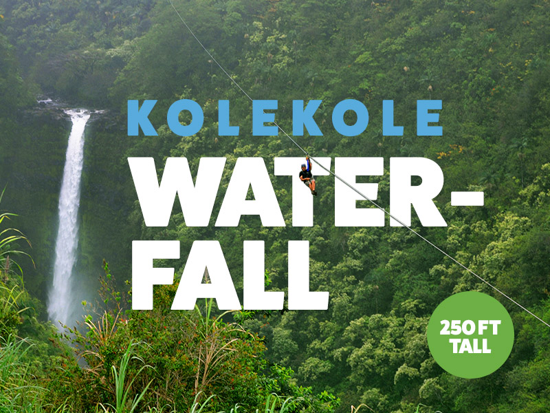 You will soar over the 250-foot tall Kolekole waterfall for a view you will never forget.