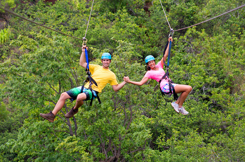 Go ziplining on your honeymoon in Hawaii