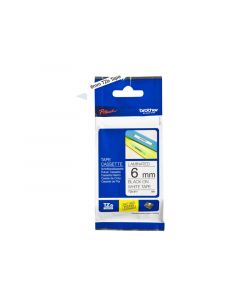Brother 1/4 Inch Laminated Black On White Tape 1/Pkg 26.2 Ft For Tz P-Touch All Tz Machines