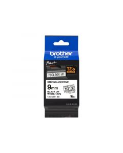 BROTHER TZe-S221 Black on White Label Tape (Extra strength adhesive) 3/8 in. x 26.2 ft.