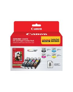 CANON 2945B011 PGI-220 Black and CLI-221 C/M/Y Color Ink Cartridges & Photo Paper Combo 4/Pack