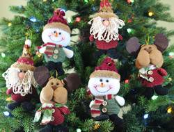 Sleetly™ 6pk Plush Hanging Ornaments - Country Colors
