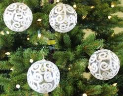 Sleetly™ 100mm Transparent Ball Ornaments - White Swirl