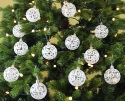 Sleetly™ 60mm Transparent Ball Ornaments - White Swirl