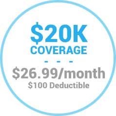 $20,000 Coverage for $26.99/mo