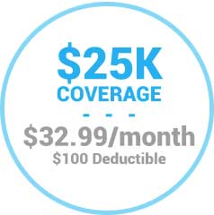 $25,000 Coverage for $32.99/mo