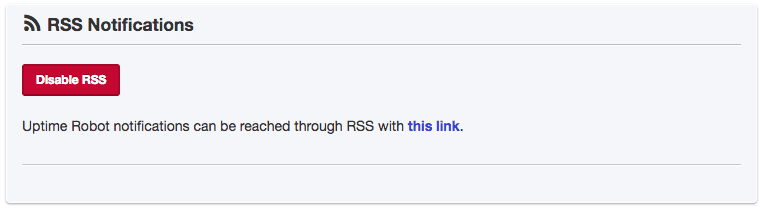 screenshot of Uptime Robot RSS settings field