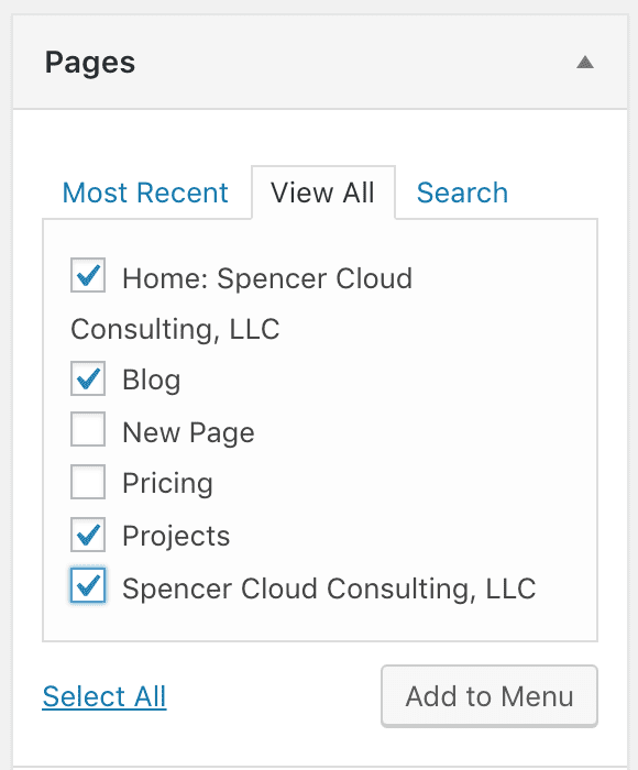 "the ""Pages"" menu item dropdown again, this time with ""Home: Spencer Cloud Consulting, LLC"", ""Blog"", ""Projects"", and ""Spencer Cloud Consulting, LLC"" checked"